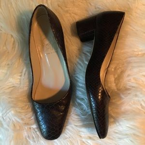 Joan & David Dark Brown Lizard Chunky Heel Shoes